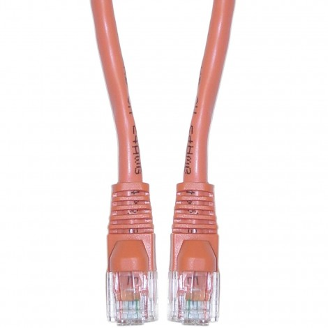 C&E® Cat5e Orange Ethernet Crossover Cable, Snagless/Molded Boot, 5 Foot