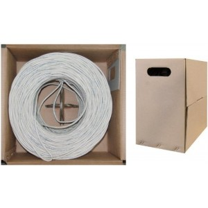 C&E®1000- feet 23AWG CAT6, 550-MHz Solid Bulk Cable, 4-Pair, PVC, White