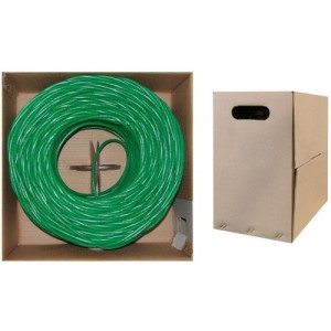C&E® 1000 feet 23AWG CAT6, 550-MHz Solid Bulk Cable, 4-Pair, PVC,Green