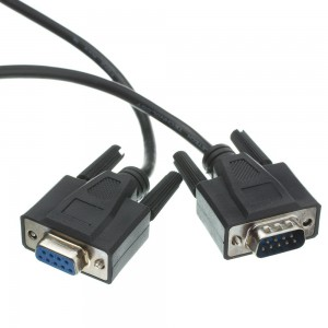 Serial Extension Cable, Black, DB9 Male to DB9 Female, RS-232, Ul Rated, 9 Conductor, 1: 50 Foot