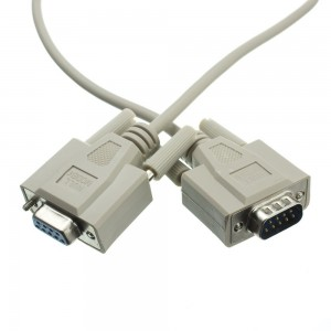 Null Modem Cable, DB9 Male to DB9 Female, Ul Rated, 8 Conductor, 15 Foot