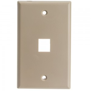 CableWholesale Wall Plate 1Hole Cable for Keystone Jack, Beige (301-1K)