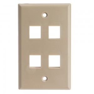 CableWholesale Wall Plate 4-Hole Cable for Keystone Jack, Beige (Amazon 634-1-N)