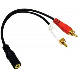 2 RCA Male and 3.5mm Stereo Female, 6 Inch Gold Plated Connector, Y-Cable CNE63102