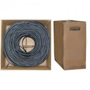 Bulk RG6 Coaxial Cable, Black, 18 AWG, Solid Core, Pullbox, 1000 Foot