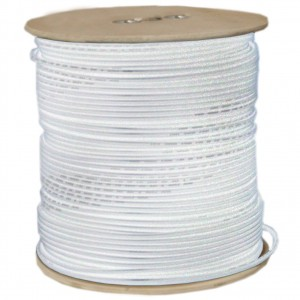 Bulk RG6 Coaxial Cable, White, 18 AWG, Solid Core, Spool, 1000 Foot