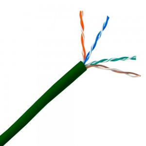 Cat5e Plenum Solid Copper Ethernet Cable, Green, UTP (Unshielded Twisted Pair), CMP, 24 AWG, Pullbox, 1000 Foot