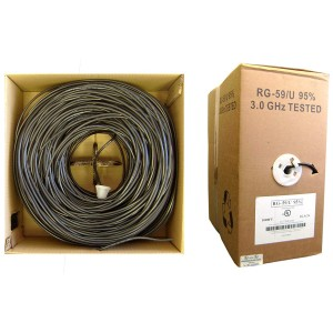 Bulk RG59/U Coaxial Cable, Black, 20 AWG, Solid Core, Copper, Pullbox, 1000 Foot