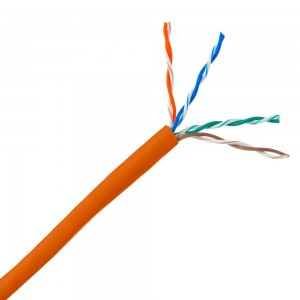 Cat5e Plenum Solid Copper Ethernet Cable, Orange, UTP (Unshielded Twisted Pair), CMP, 24 AWG, Pullbox, 1000 Foot