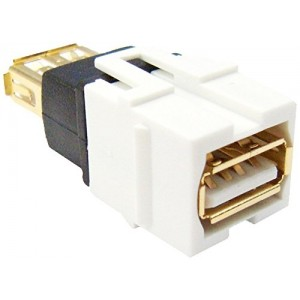 CableWholesale USB 2.0 A Type Female to Female Gold Plated Modular Keystone Jack - White (333-120)
