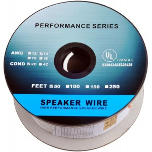 C&E® 50 Feet 14AWG CL2 Rated 2-Conductor Loud Speaker Cable (For In-Wall Installation)
