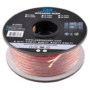 C&E® CNE62287 100 Feet 16AWG Enhanced Loud Oxygen-Free Copper Speaker Wire Cable, CNE62287