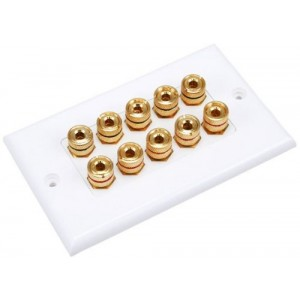 C&E® Banana Binding Post Two-Piece Inset Wall Plate for 5 Speakers