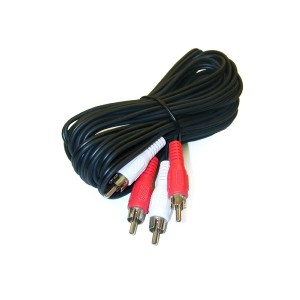 C&E® 25 feet 2 RCA Male to Male Audio Cable (2 White/2 Red Connectors)