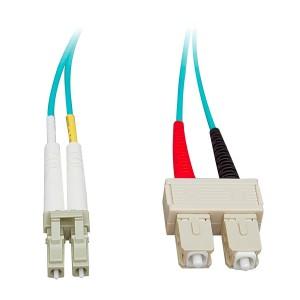 C&E® LC/SC 2-Meters Multimode Duplex Fiber Optic Cable 10-Gigabit Aqua 50/125, (CNE73095)