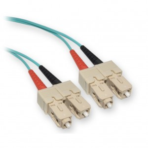 C&E® SC/SC 5-Meters Multimode Duplex Fiber Optic Cable 10-Gigabit Aqua 50/125, (CNE73965)
