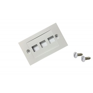 CableWholesale Decora Wall Plate Insert 3 Hole for Keystone Jack, White (302-3D-W)