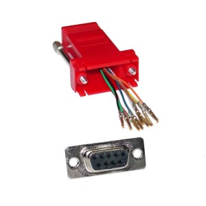 C&E® CNE34802 Modular Adapter, Red, DB9 Female to RJ45 Jack