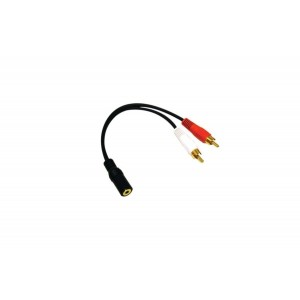 C&E® CNE46041 2 x RCA Male, 1 x 3.5mm Stereo Female, Y-Cable 6-Inch Gold Plated Connector