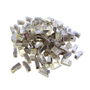 Shielded Cat 6 RJ45 Crimp Connectors for Solid and Stranded Cable, STP, 8P8C, 100 Pieces
