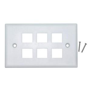 C&E® CNE41558 Keystone Wall Plate, White, 6 Hole, Single Gang