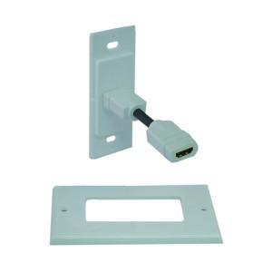 C&E® CNE41572 Wall Plate, Single HDMI Port with Strain Relief, HDMI Female, White