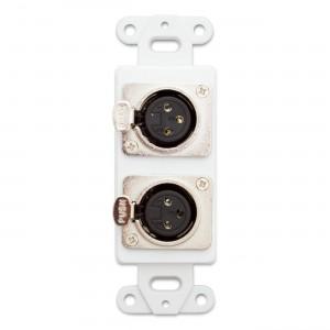 C&E® CNE41466 Decora Wall Plate Insert, Dual XLR Female to Solder Type, White