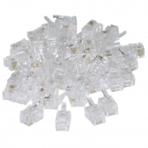 C&E® Phone / Data RJ22 4P4C Crimp Connectors for Flat Cable, 100 Pieces (CNE44665)