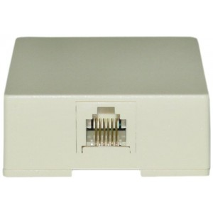 C&E® RJ11 / RJ12 Data/Voice 6P6C 6 Pin 6 Conductor Phone Surface Mount Jack, Ivory (CNE43798)