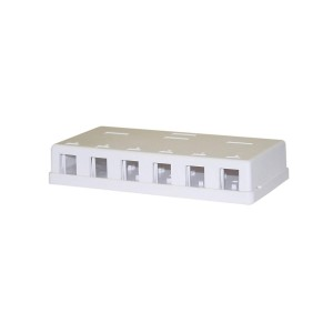 C&E® Blank Surface Mount Box for Keystones, 6 Hole, White (CNE43712)