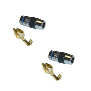 C&E® Premium RCA Connector for 7mm Coaxial Cable 24K Gold, Solder Type, Blue Band (CNE26139)