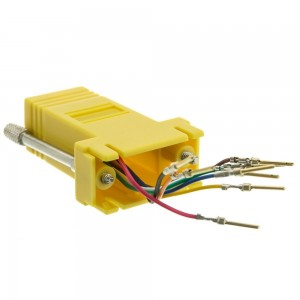 Modular Adapter, Yellow, DB9 Male to RJ45 Jack