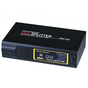 C&E® 2-Way SVGA VGA Splitter Amplifier Multiplier 400 MHz, Black (CNE49206)