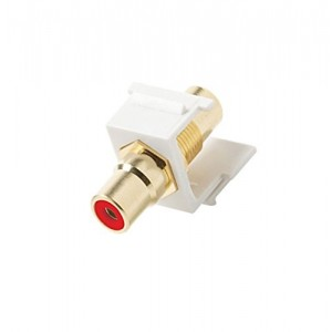C&E® CNE442810 Keystone RCA Jack Adapter Red Insulator, White