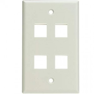 C&E® Keystone Wall Plate, 4 Hole, Single Gang, White, CNE468544
