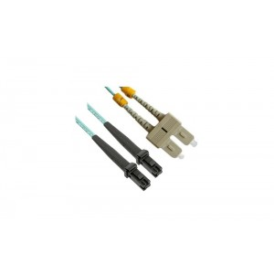 C&E® CNE627984 SC/MTRJ Duplex, Multimode, 50/125 Fiber Optic Patch Cord, Aqua, 1 Meter