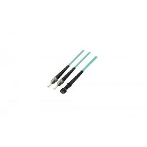 C&E® CNE628103 ST/MTRJ Duplex, Multimode, 50/125 Fiber Optic Patch Cord, Aqua, 1 Meter