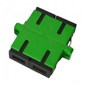 C&E® CNE630748 SC to APC Single Mode, Duplex Adaptor with Flange, Ceramic Sleeve, Green Color
