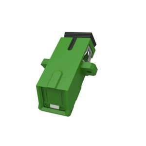 C&E CNE631462 SC to APC Simplex Adaptor with Inner Shutter & Flange, Unibody Design, Green Color