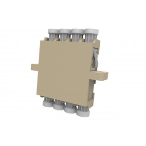 C&E® CNE632728 LC to PC Multimode, Quad Adaptor with Flange, Ceramic Sleeve, Beige Color