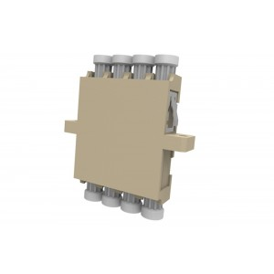 C&E® CNE632780 LC to PC Multimode, Quad Adaptor with Flange, Ceramic Sleeve, Beige Color