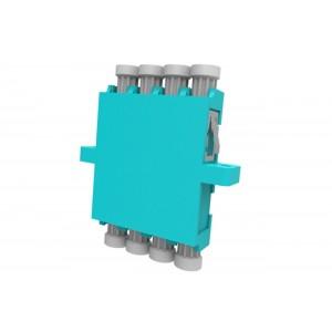 C&E® CNE632841 LC to PC Multimode, Quad Adaptor with Flange, Ceramic Sleeve, Aqua Color