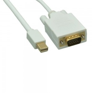 (6 Feet) Mini Display Port Male to VGA Male Cable (White) Gold Plated