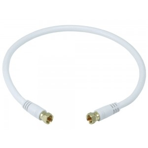C&E® RG6 (18AWG) 75Ohm, Quad Shield, CL2 Coaxial Cable with F Type Connector White 1.5 Feet